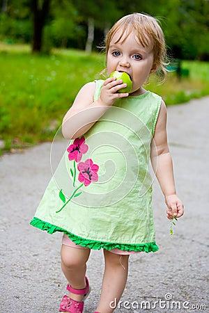 The girl eats