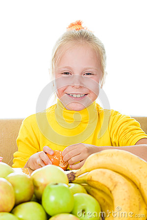 Girl eats fruit
