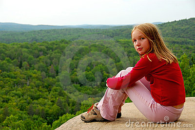 Girl edge cliff
