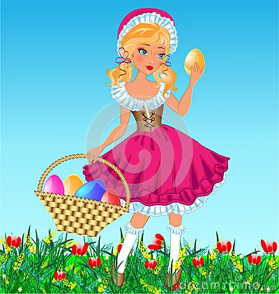 Girl with eggs in basket