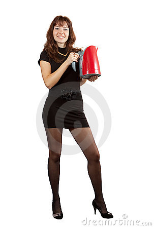 Girl with electric tea kettle