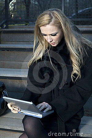 Girl with electronic device