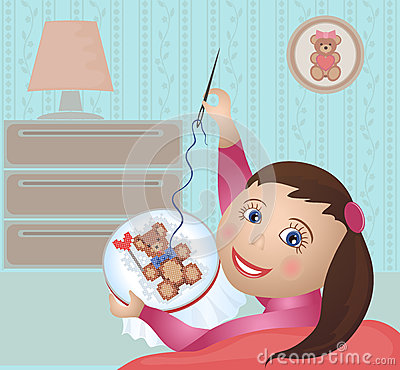 Free Girl Embroiders Cross-stitch Stock Photos - 29084273