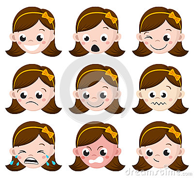 Free Girl Emotion Faces Cartoon.  Set Of Female Avatar Expressions. Royalty Free Stock Photos - 79784308