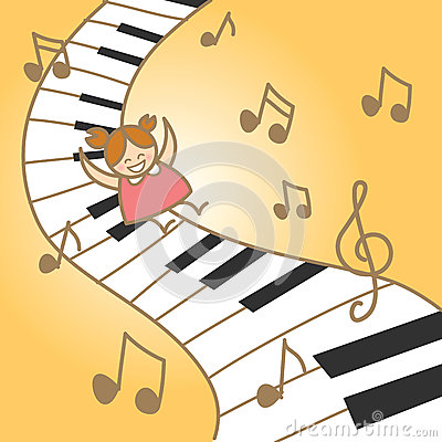 Girl enjoy musical piano abstract