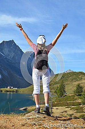 Girl enjoying Alpine panorama