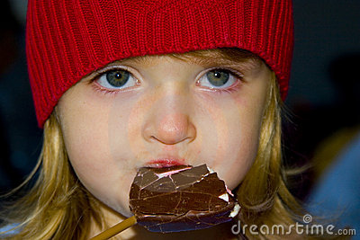 Girl enjoying a chocolate