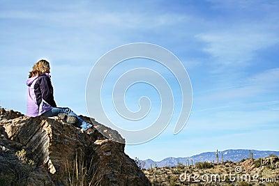 Girl enjoying the desert view