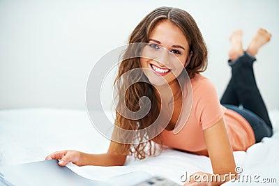 Girl enjoying her magazine