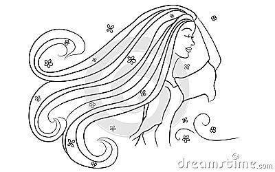 Girl Enjoying A Spring Breeze Illustration