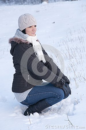 Girl enjoying winter walk