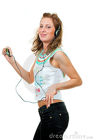 Girl enjoys listening to music