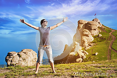 Girl enjoys rise to the mountain top
