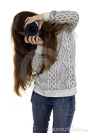 Girl enthusiasm looking at the camera lens
