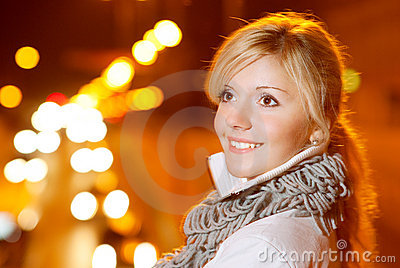 Girl in evening in city