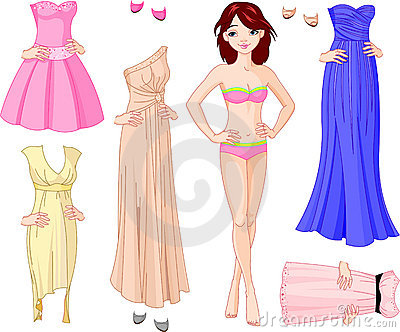 Girl with evening dresses