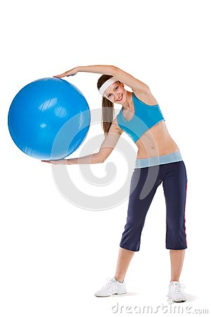 Girl excersices with fitball