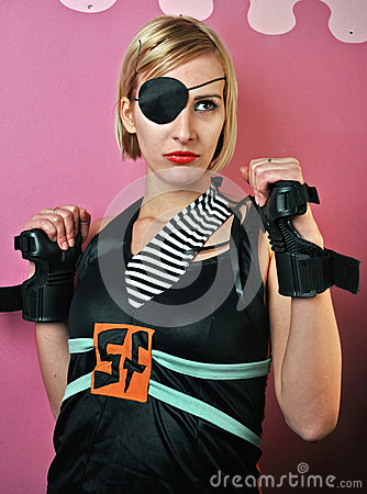 Girl with eye patch