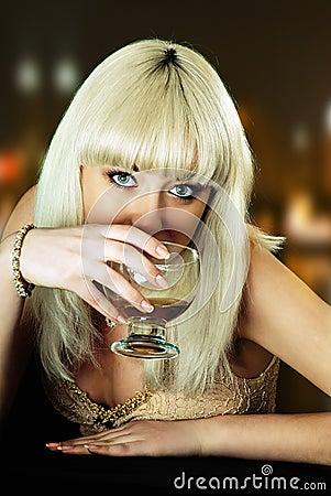 Girl eyes wine