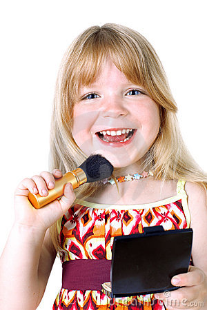 Girl with face brush