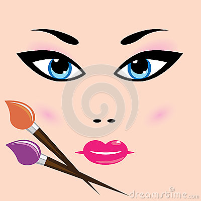 Girl face and cosmetic