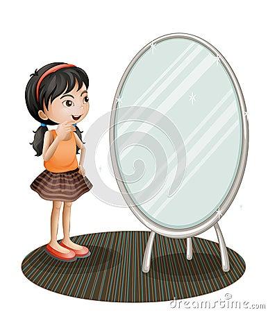 A girl facing the mirror Vector Illustration