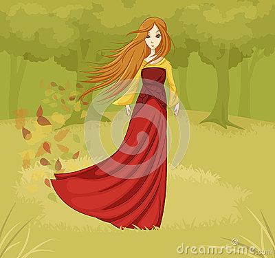 Girl in a fairy tale forest