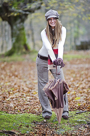 Girl fall forest