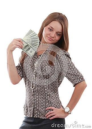 Girl with fan of dollar