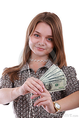 Girl with fan of dollar