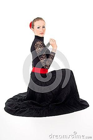 Girl with a Fan sitting Carmen