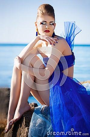 Girl in fantasy blue dress