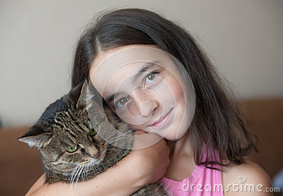 Girl with a favourite cat