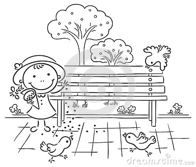 Girl Feeding Sparrows In The Park Stock Vector Image