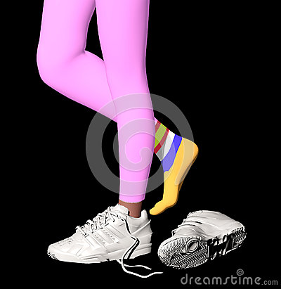 Free Girl Feet In Running Shoes Stock Images - 37758824
