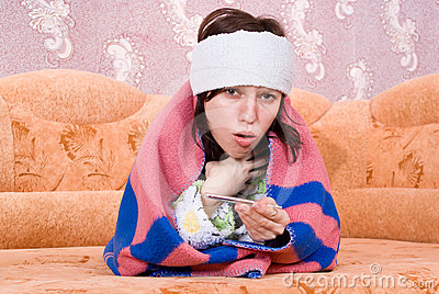 Girl fell ill and on the couch