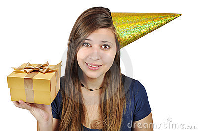 Girl in a festive hat