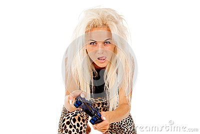 The girl fiercely the plays video games