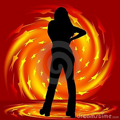 Girl and fire twirl