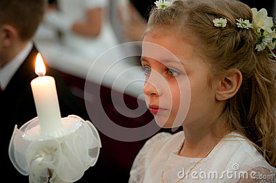 Girl at first holy communion