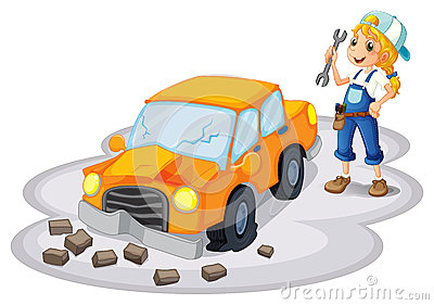 A girl fixing a broken car