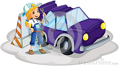 A girl fixing the broken violet car