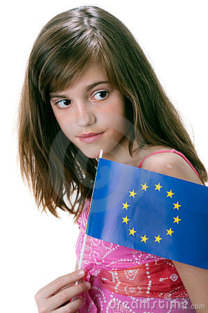 Girl and flag Europe