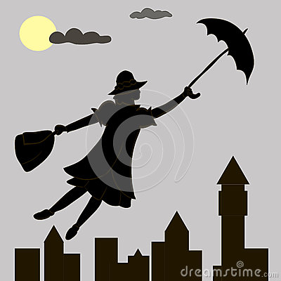 Free Girl Floats Under The Moon With An Umbrella In His Hand Stock Photos - 64811543