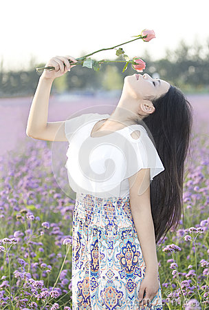A girl and flower