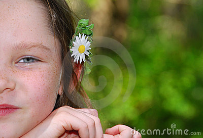Girl With Flower Behind Ear