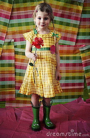 Girl with flower and boots