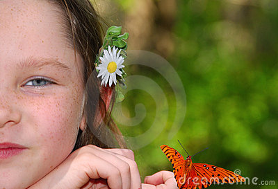 Girl With Flower and Butterfly