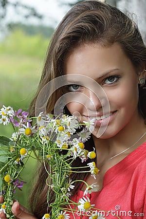 Girl with flower diadem