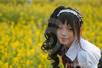 Girl in a flower field